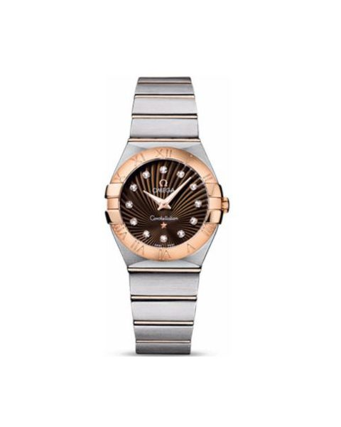 OMEGA CONSTELLATION STAINLESS STEEL & 18KT ROSE GOLD 27MM LADIES WATCH
