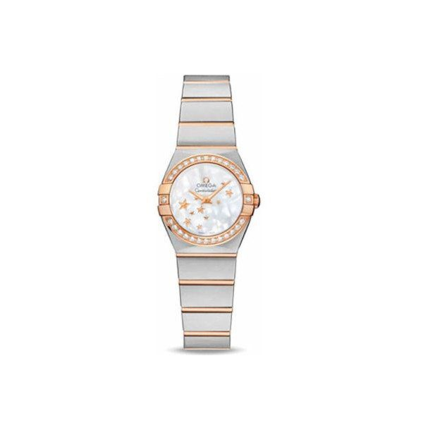 OMEGA CONSTELLATION STAINLESS STEEL & 18KT ROSE GOLD 24MM LADIES WATCH