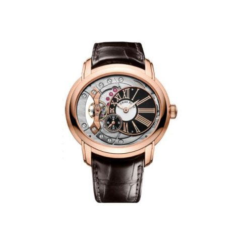 AUDEMARS PIGUET MILLENARY 4104 18KT ROSE GOLD 47MM SILVER/ANTHRACITE DIAL MEN'S WATCH