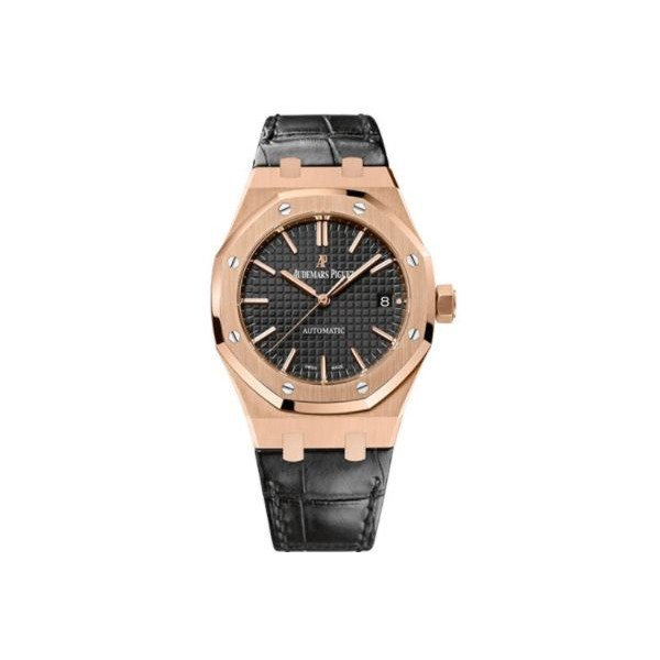 AUDEMARS PIGUET ROYAL OAK 18KT ROSE GOLD 37MM BLACK DIAL UNISEX WATCH