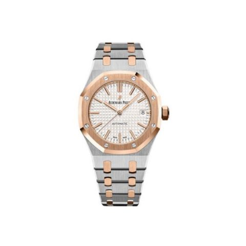 AUDEMARS PIGUET ROYAL OAK STAINLESS STEEL/18KT ROSE GOLD 37MM SILVER TONED DIAL LADIES WATCH
