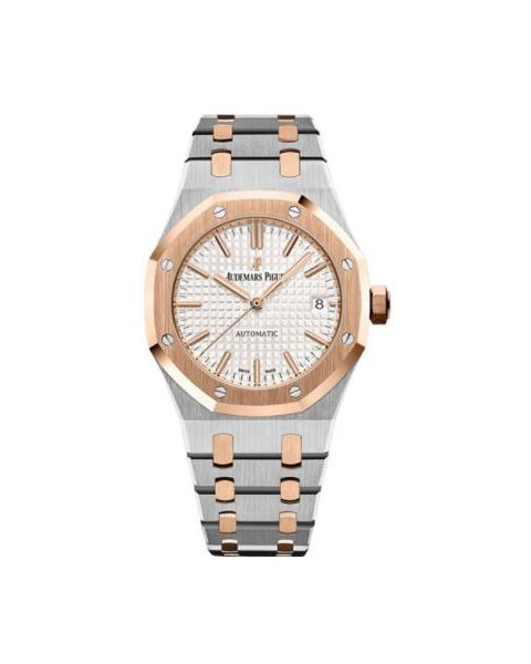 Audemars Piguet Pre-owned Royal Oak Stainless Steel/18kt Rose Gold 37mm Silver Toned Dial Ladies Watch