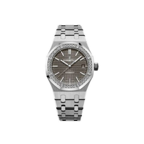 AUDEMARS PIGUET ROYAL OAK STAINLESS STEEL 37MM WITH DIAMONDS GREY DIAL LADIES WATCH