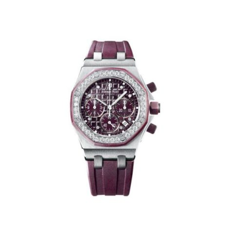 AUDEMARS PIGUET ROYAL OAK STAINLESS STEEL 37MM PURPLE DIAL LADIES WATCH
