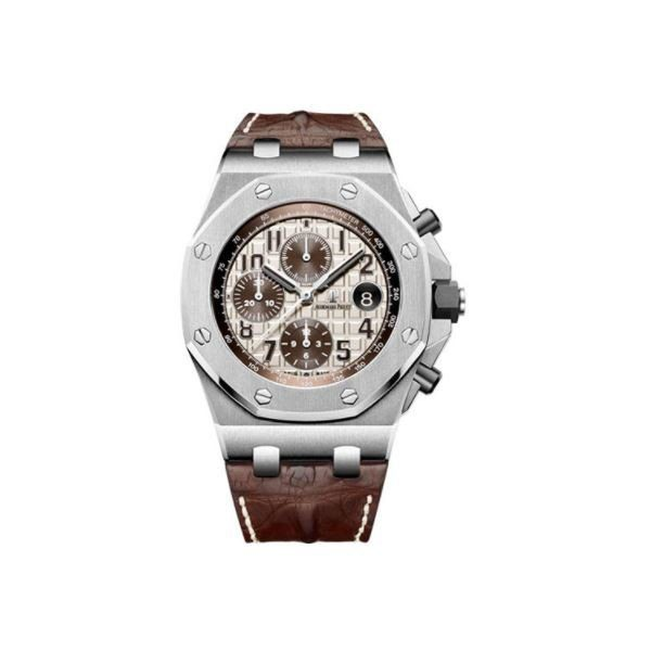 AUDEMARS PIGUET ROYAL OAK STAINLESS STEEL 42MM IVORY TONED DIAL MEN'S WATCH