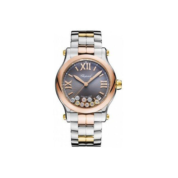 CHOPARD HAPPY SPORT STAINLESS STEEL & 18KT ROSE GOLD 36MM LADIES WATCH