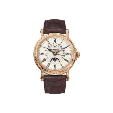 PATEK PHILIPPE PERPETUAL CALENDAR MOONPHASE 18KT ROSE GOLD 38MM OPALINE WHITE DIAL UNISEX WATCH