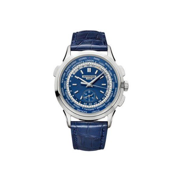 PATEK PHILIPPE COMPLICATIONS WORLD TIME 18KT WHITE GOLD 39.5MM BLUE DIAL MEN'S WATCH