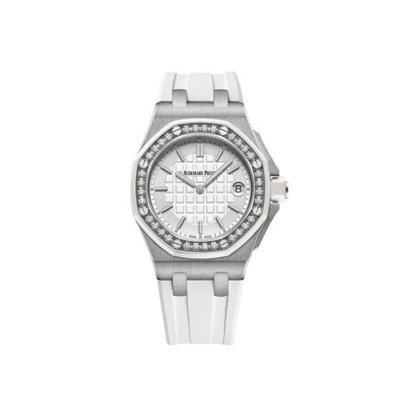 AUDEMARS PIGUET ROYAL OAK STAINLESS STEEL 37MM LIGHT SILVER TONED DIAL LADIES WATCH
