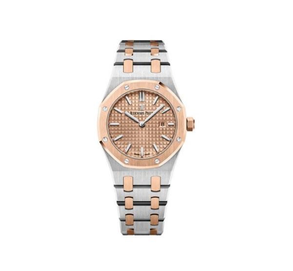 Audemars Piguet Pre-owned Royal Oak Stainless Steel 33mm Pink Gold Toned Dial Ladies Watch