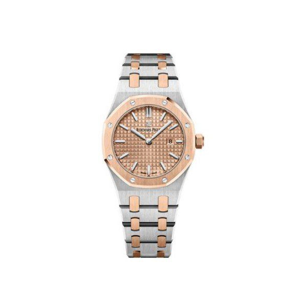 AUDEMARS PIGUET ROYAL OAK STAINLESS STEEL 33MM PINK GOLD TONED DIAL LADIES WATCH
