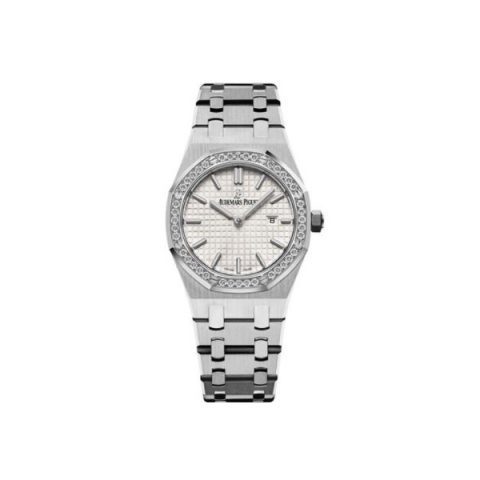 AUDEMARS PIGUET ROYAL OAK STAINLESS STEEL 33MM SILVER DIAL LADIES WATCH