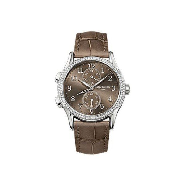 PATEK PHILIPPE COMPLICATIONS 18KT WHITE GOLD 35MM BROWN SUNBURST DIAL LADIES WATCH