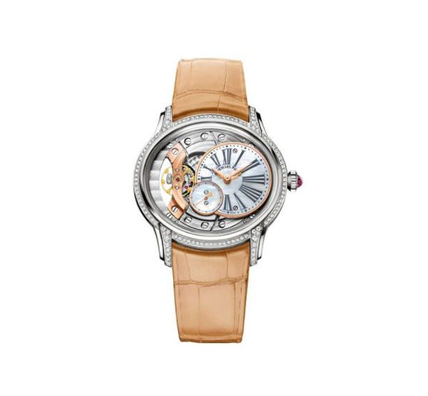 Audemars Piguet Pre-owned Millenary 18kt White Gold 39.5mm Openworked Dial Ladies Watch