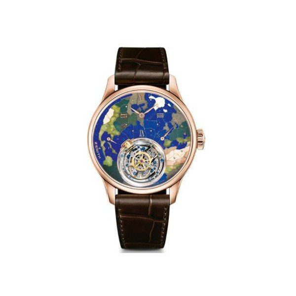 ZENITH ACADEMY CHRISTOPHE COLOMB  PLANETE BLEUE TOURBILLON LIMITED EDITION TO 10PCS 45MM MEN'S WATCH