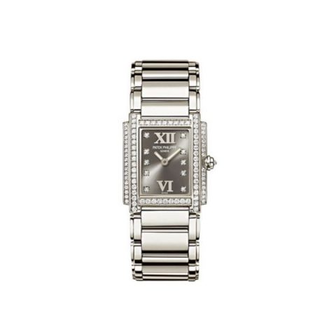 PATEK PHILIPPE TWENTY-4 18KT WHITE GOLD WITH DIAMONDS 22MM X 26.3MM ETERNAL GRAY DIAL LADIES WATCH