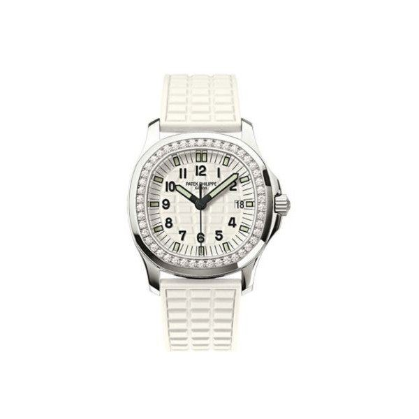 PATEK PHILIPPE AQUANAUT STAINLESS STEEL 35.2MM EMBOSSED WHITE DIAL LADIES WATCH