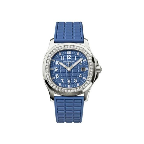 PATEK PHILIPPE AQUANAUT STAINLESS STEEL WITH DIAMONDS 35.6MM BLUE DIAL LADIES WATCH