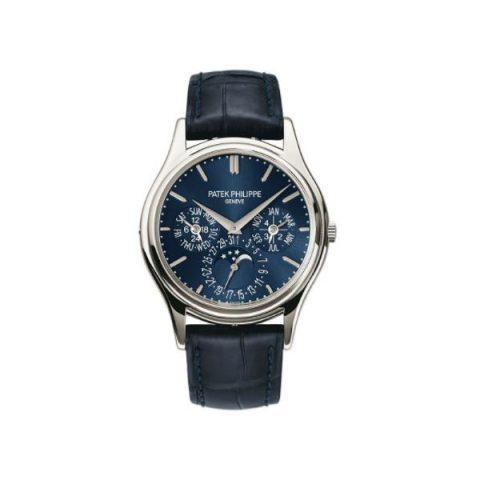 PATEK PHILIPPE COMPLICATIONS PLATINUM 37.2MM BLUE DIAL MEN'S WATCH