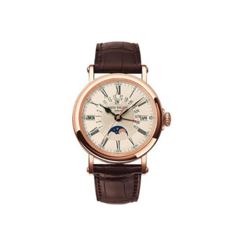 PATEK PHILIPPE GRAND COMPLICATIONS 18KT ROSE GOLD 38MM HADN GUILLOCHED DIAL MEN'S WATCH