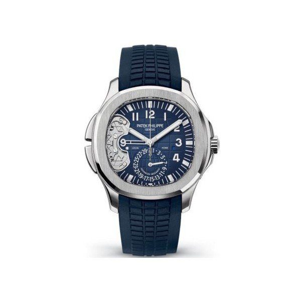 PATEK PHILIPPE AQUANAUT 18KT WHITE GOLD 40.8MM BLUE DIAL WITH EMBOSSED AQUANAUT PATTERN MEN'S WATCH
