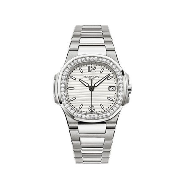 PATEK PHILIPPE NAUTILUS 18KT WHITE GOLD 32MM SILVERY WHITE DIAL LADIES WATCH