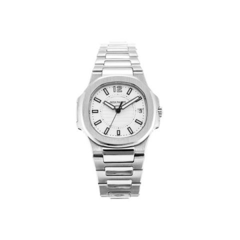 Patek Philippe Pre-Owned Nautilus 7011/1G-001 White Gold Silvery White Dial Ladies Watch