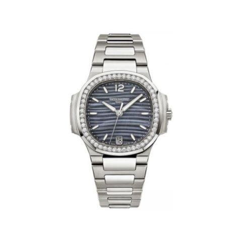 PATEK PHILIPPE NAUTILUS 7018/1A-010 STAINLESS STEEL BLUE TINTED MOP DIAL LADIES WATCH