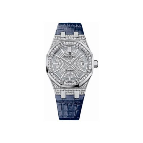 AUDEMARS PIGUET ROYAL OAK 18KT WHITE GOLD 37MM DIAMOND PAVED DIAL LADIES WATCH