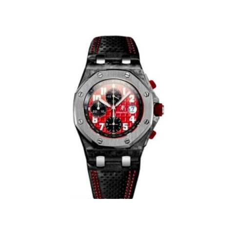 AUDEMARS PIGUET ROYAL OAK LIMITED EDITION TO 250 PCS FORGED CARBON 42MM BLACK/RED DIAL MEN'S WATCH