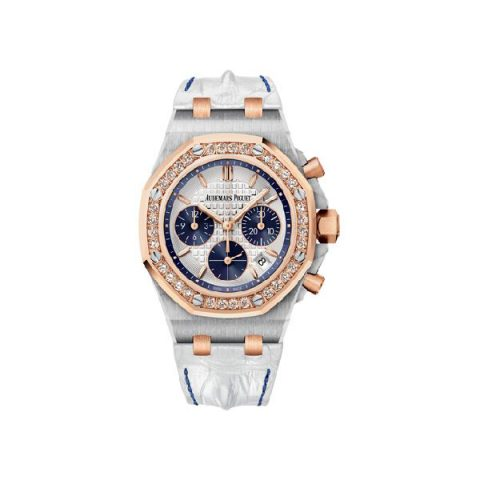 AUDEMARS PIGUET ROYAL OAK OFFSHORE 18KT ROSE GOLD/STAINLESS STEEL 37MM SILVER DIAL LADIES WATCH