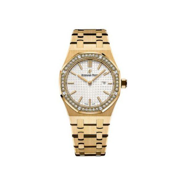 AUDEMARS PIGUET ROYAL OAK 18KT YELLOW GOLD 33MM SILVER-TONED DIAL LADIES WATCH