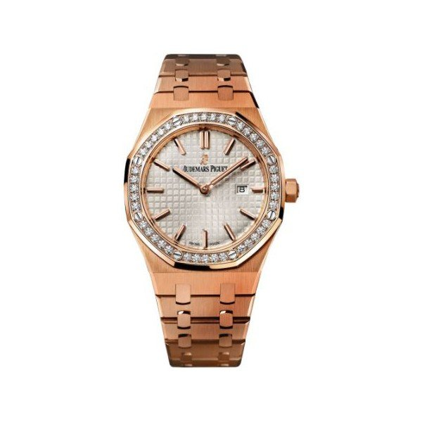 AUDEMARS PIGUET ROYAL OAK 18KT ROSE GOLD 33MM SILVER DIAL LADIES WATCH REF.  67651or.zz.1261or.01