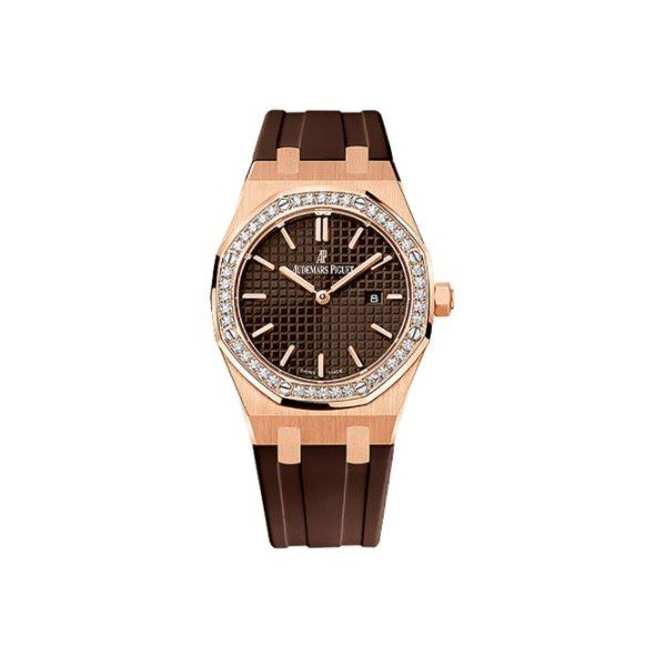 AUDEMARS PIGUET ROYAL OAK 18KT ROSE GOLD 42MM BROWN DIAL LADIES WATCH