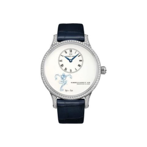 JAQUET DROZ PETITE HEURE MINUTE 18KT WHITE GOLD 39MM LADIES WATCH