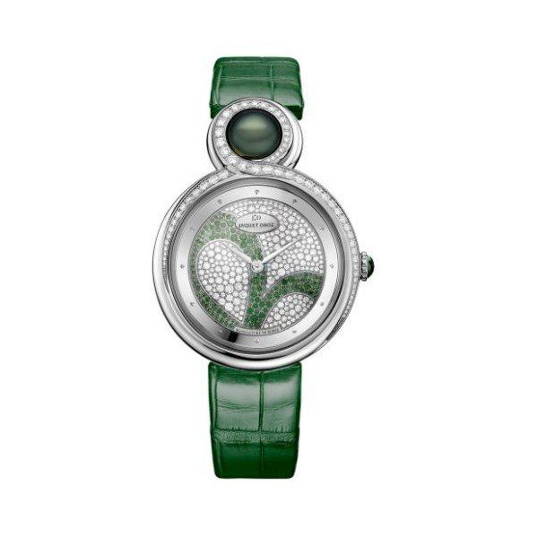 JAQUET DROZ CLOVER LEAF 18KT WHITE GOLD 35MM LADIES WATCH