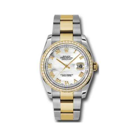 ROLEX DATEJUST STAINLESS STEEL & 18KT YELLOW GOLD 36MM LADIES WATCH