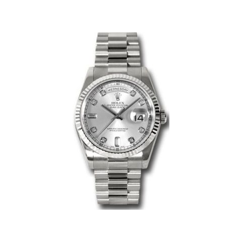 ROLEX OYSTER PERPETUAL DAY DATE 18KT WHITE GOLD 36MM MEN'S WATCH