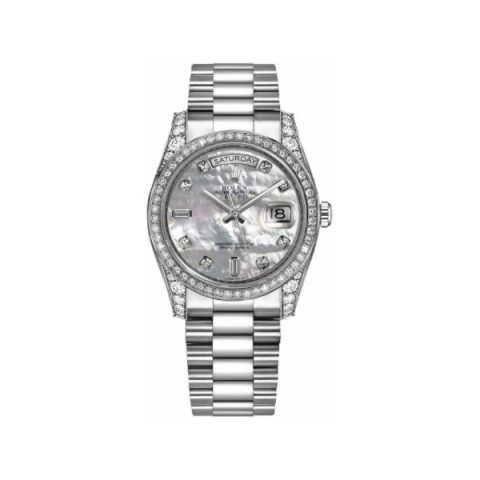 ROLEX OYSTERP PERPETUAL DAY DATE 18KT WHITE GOLD 36MM LADIES WATCH