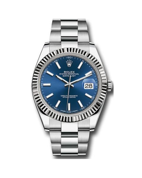 ROLEX Pre-Owned Oyster Perpetual DateJust 41mm Stainless Steel and 18kt White Gold Bezel Men's Watch