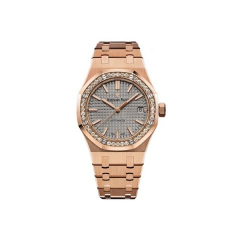 AUDEMARS PIGUET ROYAL OAK 18KT ROSE GOLD 37MM GREY NICKEL-TONED DIAL LADIES WATCH