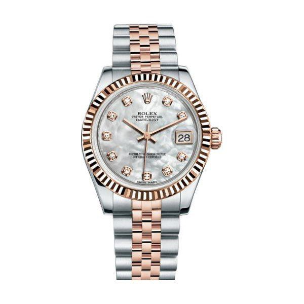 ROLEX DATEJUST 18KT ROSE GOLD 31MM MOP DIAL LADIES WATCH