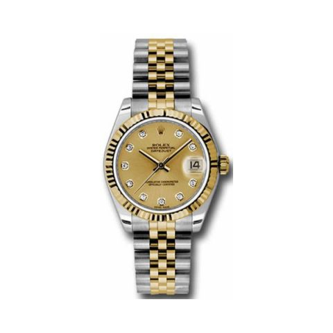 ROLEX DATEJUST STAINLESS STEEL & 18KT YELLOW GOLD 31MM LADIES WATCH