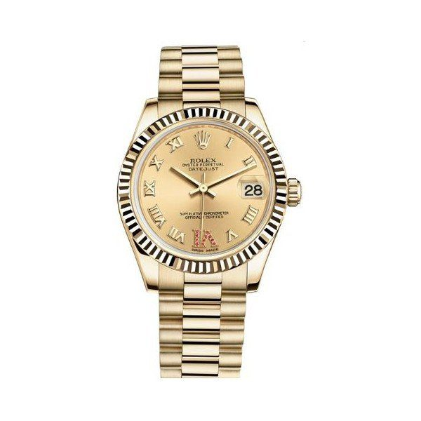 ROLEX DATEJUST 18KT YELLOW GOLD 31MM LADIES WATCH