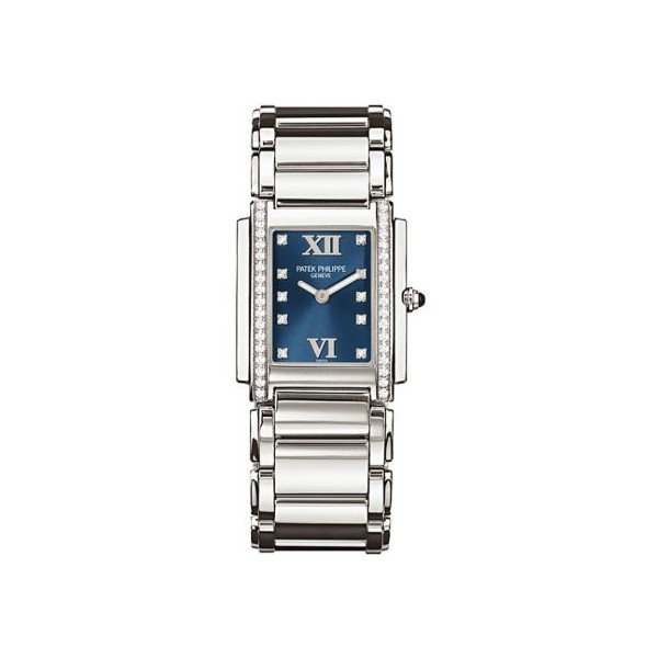 PATEK PHILIPPE TWENTY-4 STAINLESS STEEL 30MM BLUE DIAL LADIES WATCH