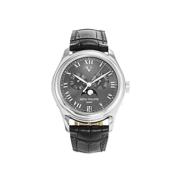 PATEK PHILIPPE ANNUAL CALENDAR PLATINUM 36MM GREY DIAL MEN'S WATCH