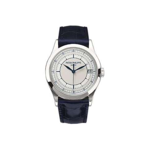 PATEK PHILIPPE CALATRAVA 18KT WHITE GOLD 38MM SILVER DIAL MEN'S WATCH