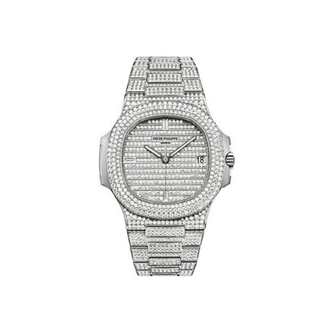 PATEK PHILIPPE NAUTILUS 18KT WHITE GOLD 40MM DIAMOND PAVED DIAL UNISEX WATCH
