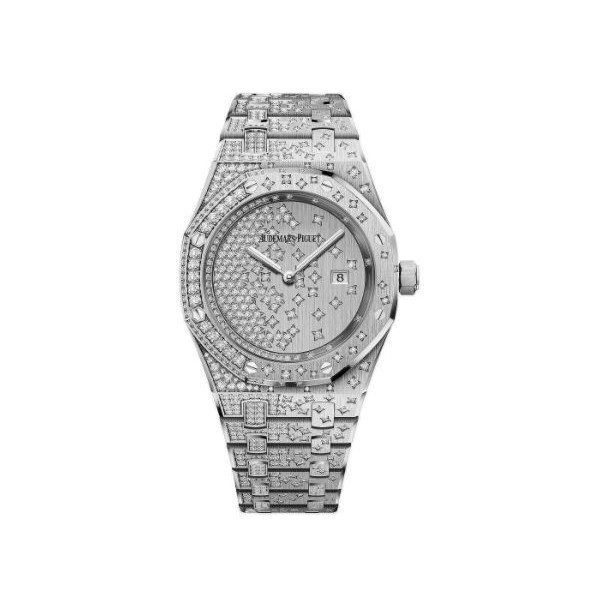 AUDEMARS PIGUET ROYAL OAK 18KT WHITE GOLD 33MM DIAMOND SET LADIES WATCH