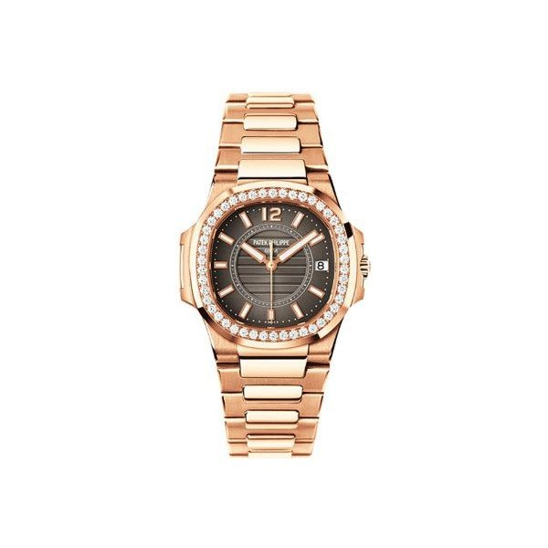 PATEK PHILIPPE NAUTILUS 18KT ROSE GOLD 32MM WITH DIAMONDS CHARCOAL GREY DIAL LADIES WATCH